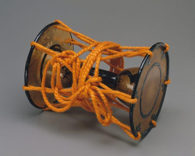 Drum (Kotsuzumi) with Design of Hydrangea and Lacquered Storage Box