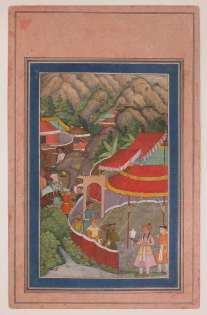 """""""Encampment in the Hills: Jahangir with Falcon"""", Folio from the Davis Album"""