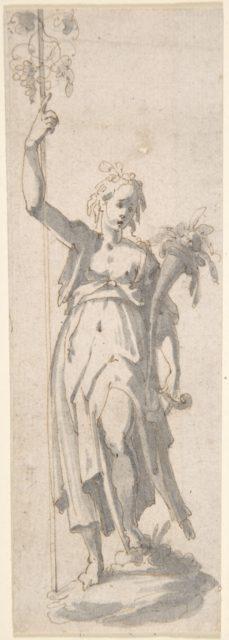 Female Figure with Staff and Cornucopia