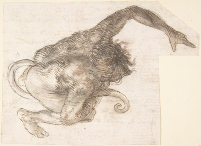 Figure of Fantastic Human-like Creature with Long Tail (recto); Fragment of a Letter or Document (verso)