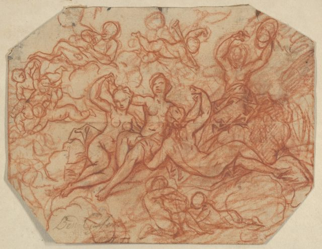 Four (?) Nude Women in the Clouds Surrounded by Putti