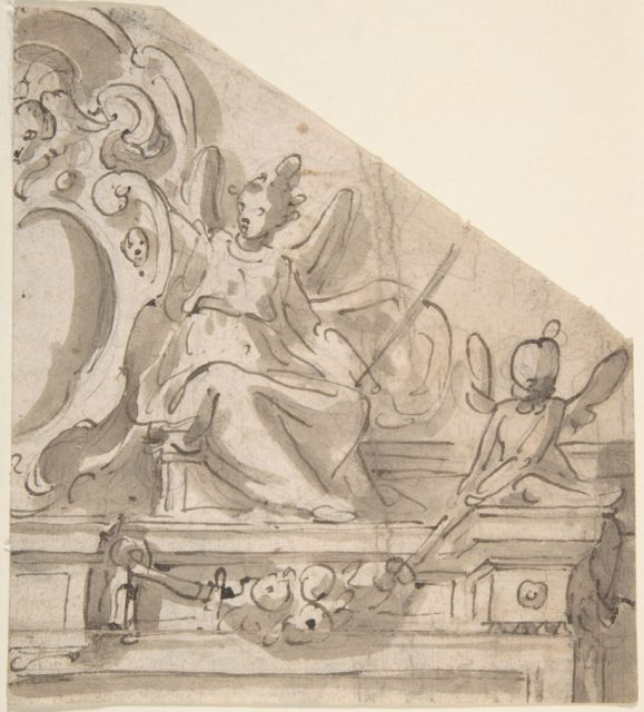 Fragment of a Design for an Overdoor with Seated Angel Supporting Cartouche, and Seated Putto Holding Garland (recto); Fragments of a Cartouche? (verso)