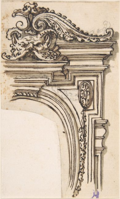 Fragment of Frame Design (Recto); Sketch of a Man's Head in Profile (Verso)