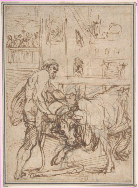 Hercules Capturing the Cretan Bull: part of a cycle depicting the Labors of Hercules