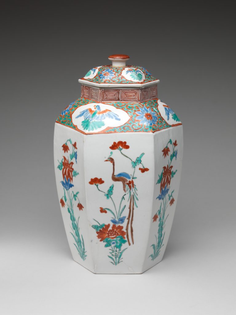 Hexagonal jar with Flower and Bird Decoration (one of a pair)