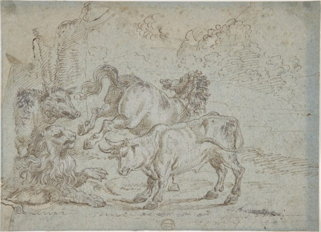 Horse, Bull, Lion, and Boar