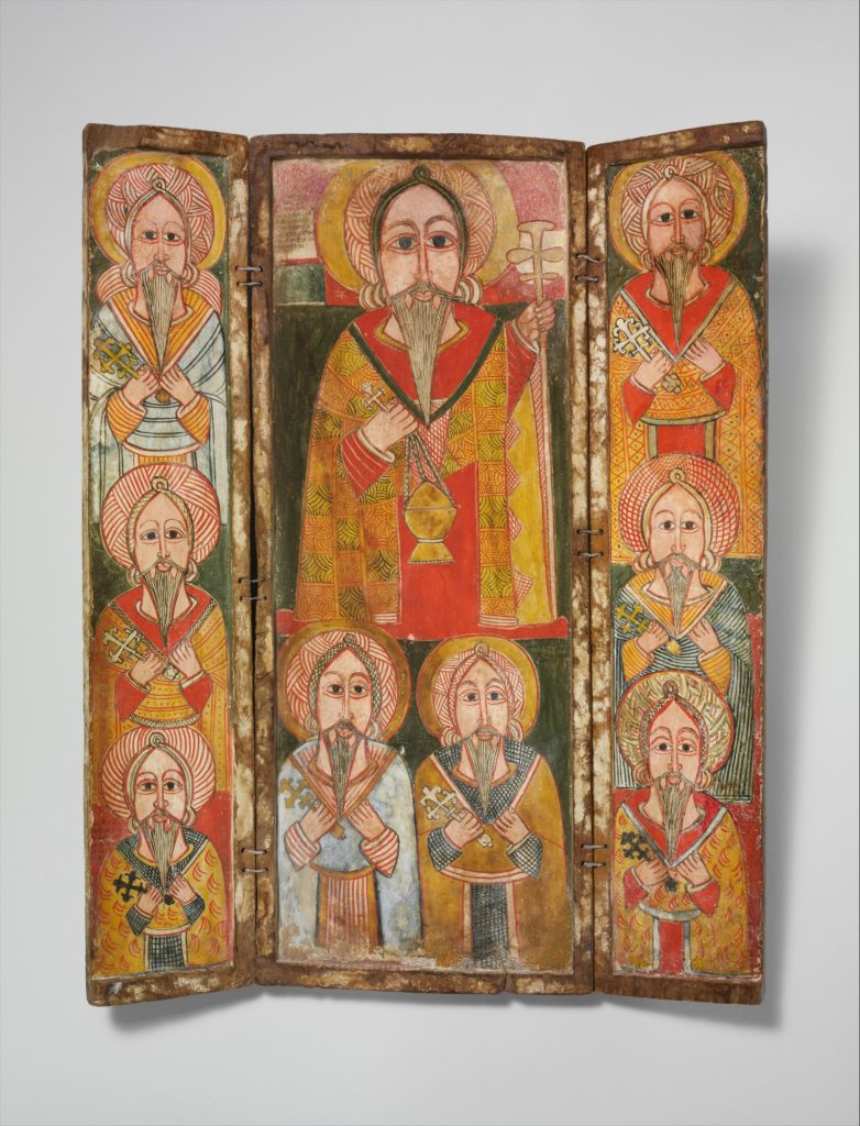 Icon Triptych: Ewostatewos and Eight of His Disciples