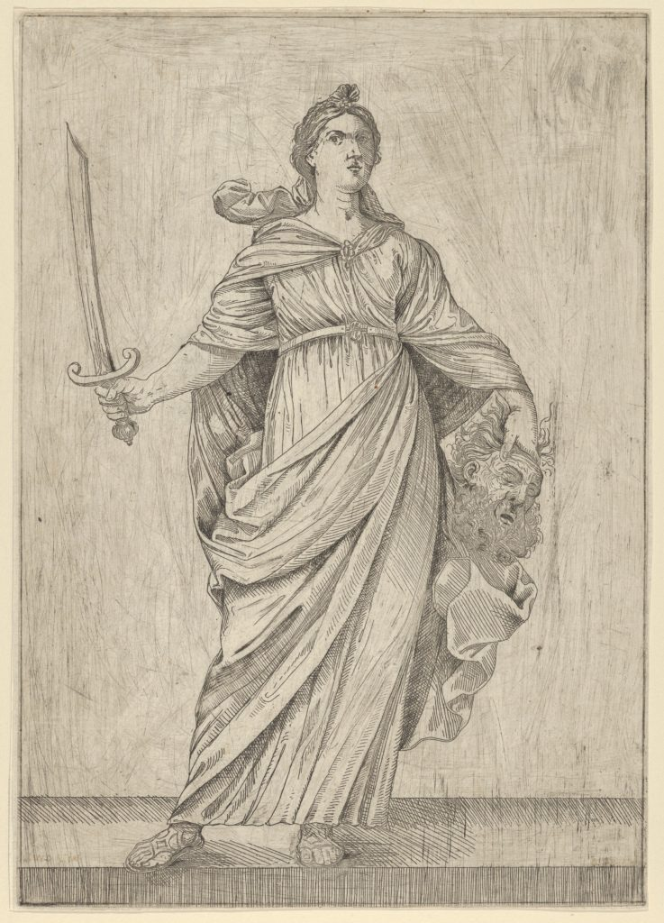 Judith standing on a ledge holding the head of Holofernes in her left hand and a sword in her right