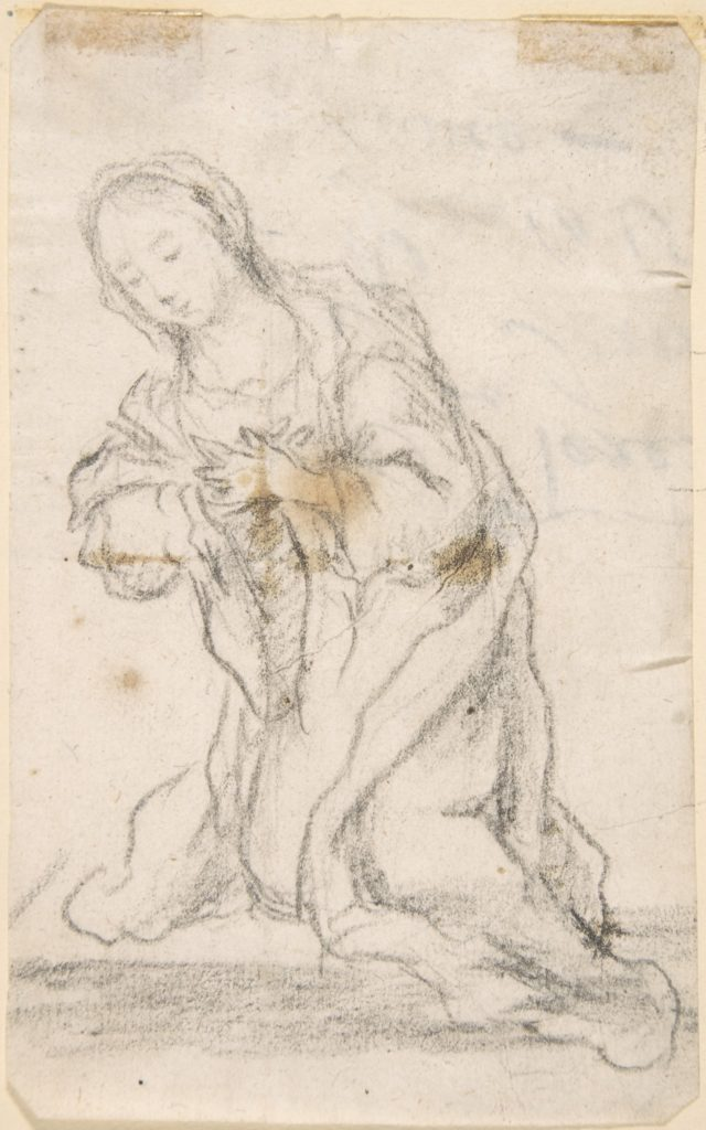 Kneeling Virgin (Virgin Annunciate) (recto); Writing (verso)