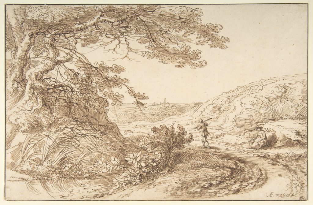 Landscape with old trees and figures