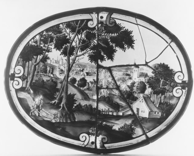 Landscape with view of a town (one of three)