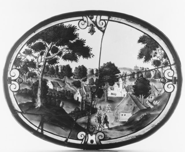 Landscape with view of a village (one of three)