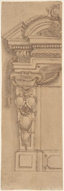 Left Half Design for Wall Monument with Escutcheon Motif