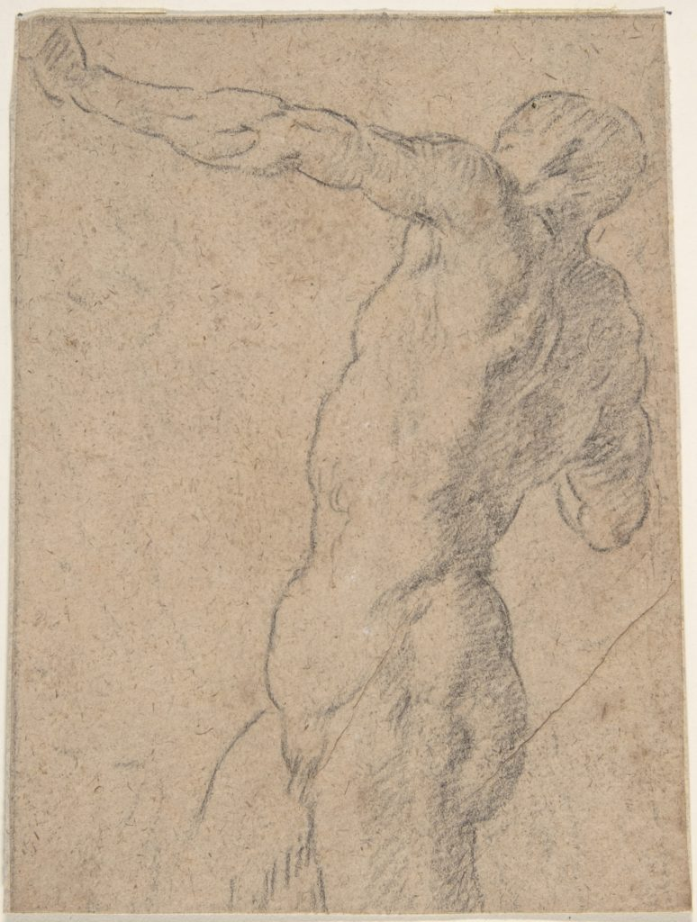 Life Study of Standing Male Nude in Three-Quarter Length