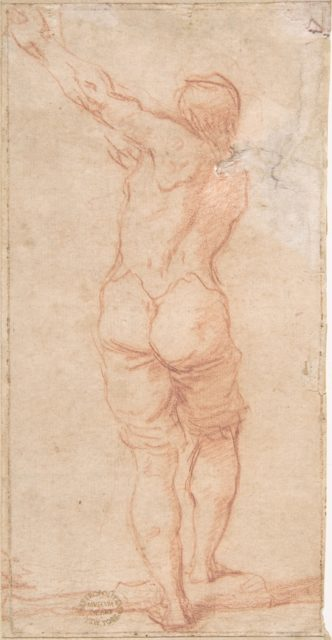Male Figure with Arms Raised to the Left Seen From the Rear (recto); Male Figures with Arms Raised to the Left (front view of figure on recto) (verso)