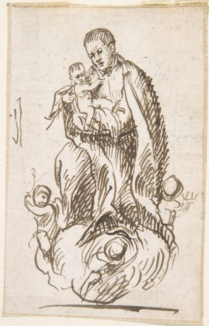 Male Saint Standing on Cloud, Supported by Putti, Holding Infant Christ