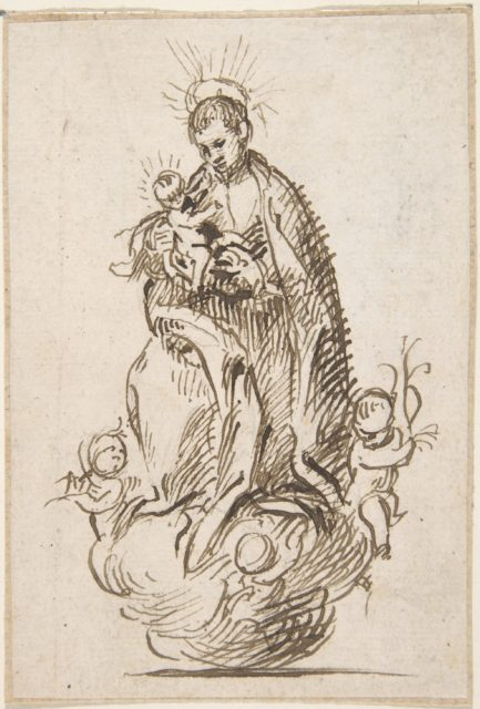 Male Saint Standing on Clouds Supported by Putti, Holding Infant Christ