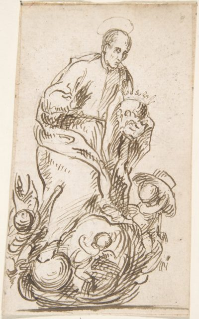 Male Saint Standing on Clouds with Putti