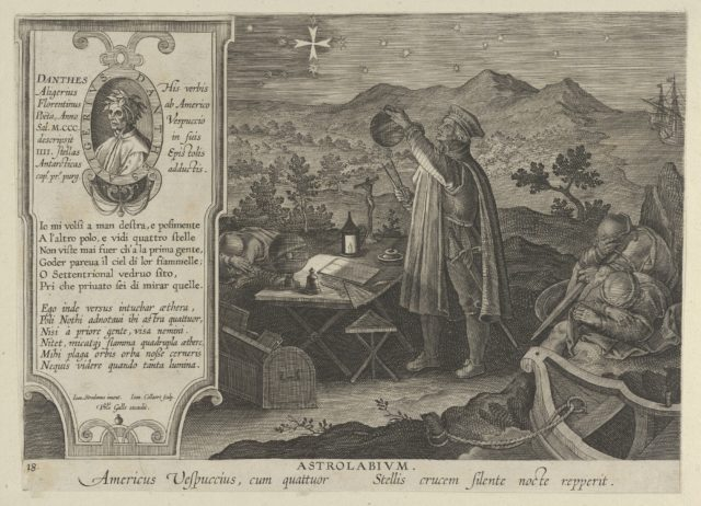 New Inventions of Modern Times [Nova Reperta], Amerigo Vespucci Discovering the Southern Cross with an Astrolabium, plate 18
