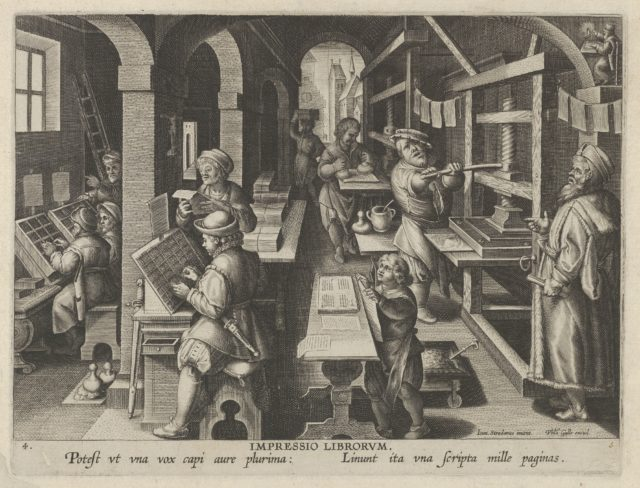 New Inventions of Modern Times [Nova Reperta], The Invention of Book Printing, plate 4