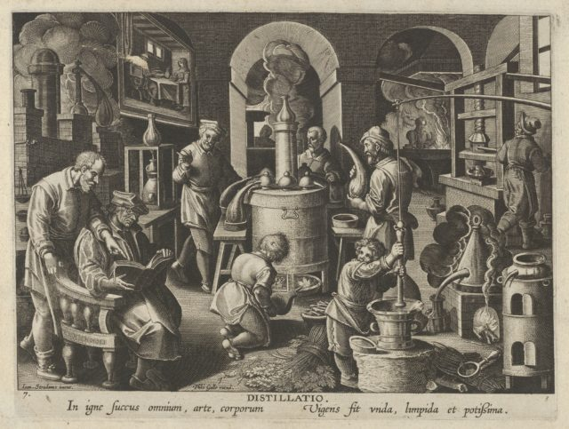New Inventions of Modern Times [Nova Reperta], The Invention of Distillation, plate 7