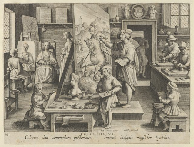 New Inventions of Modern Times [Nova Reperta], The Invention of Oil Painting, plate 14