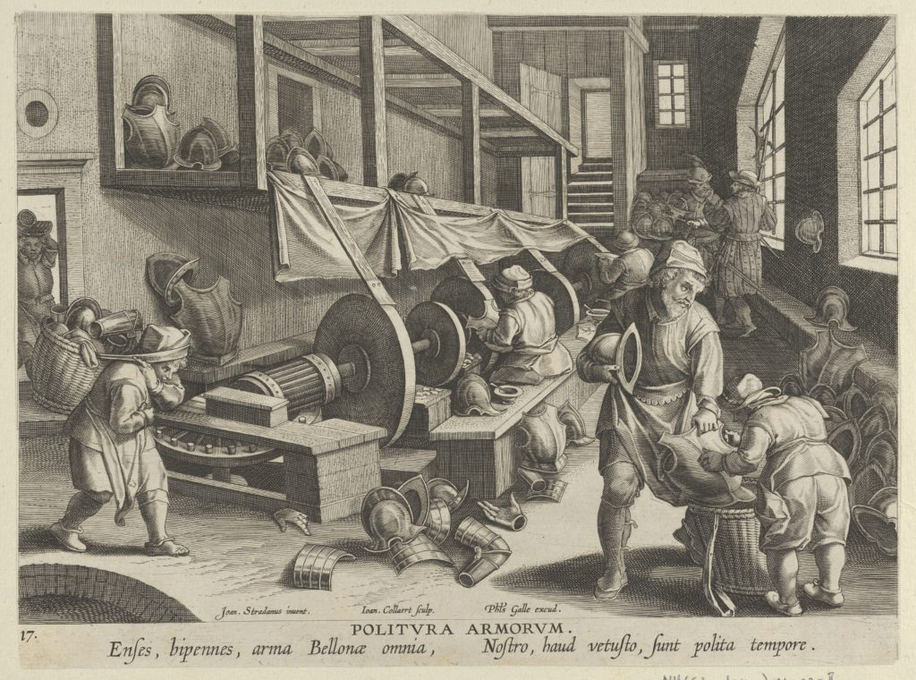 New Inventions of Modern Times [Nova Reperta], The Invention of the Polishing of Armor, plate 17