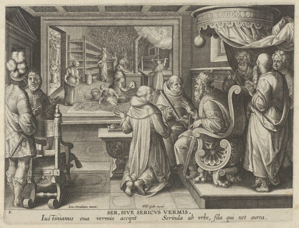 New Inventions of Modern Times [Nova Reperta], The Production of Silk, plate 8