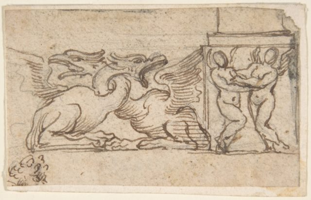 Ornamental Design of Winged Female Figures and Dragons