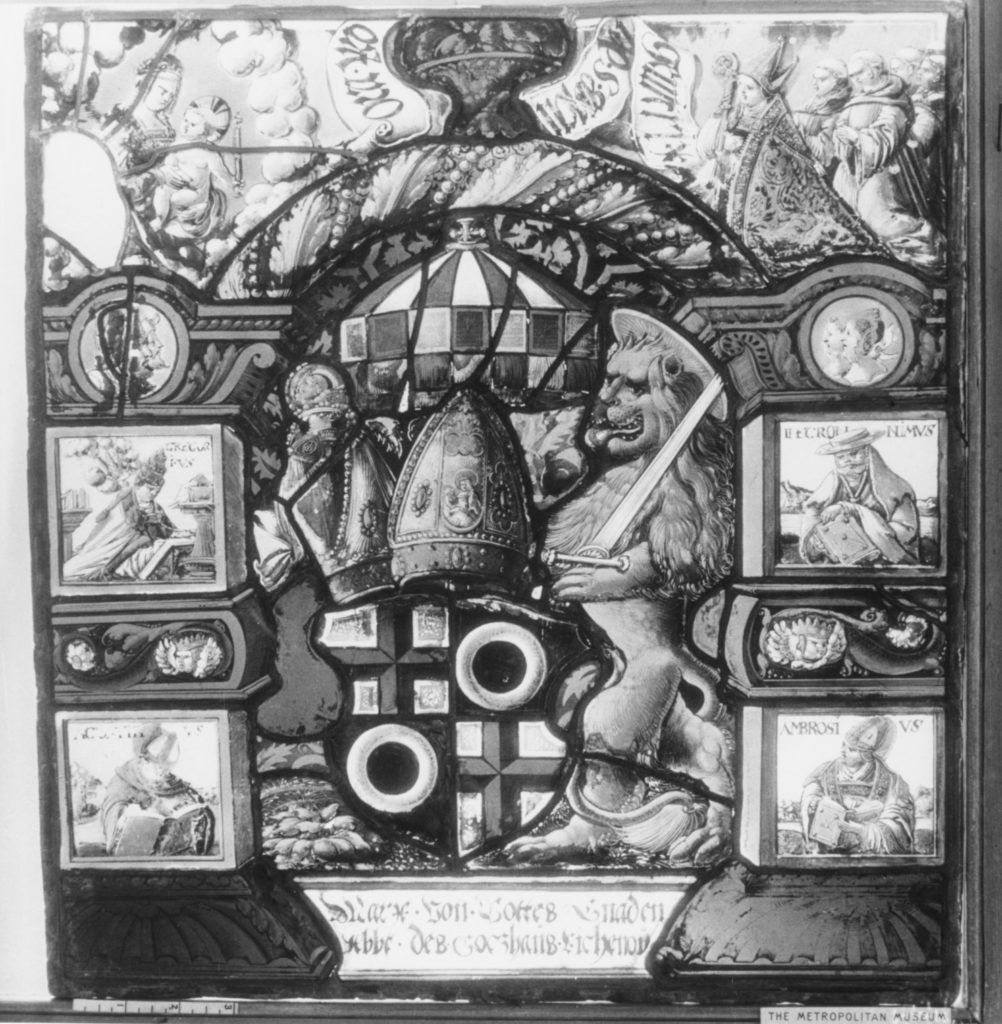 Panel with arms of an abbot of Lichenow