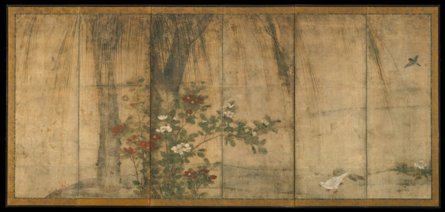 Pine and Camellia with Hawks and Willow and Camellia with Small Birds