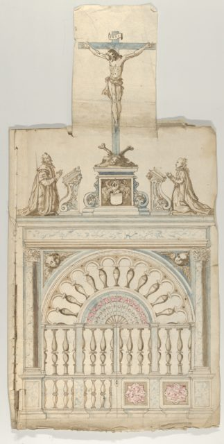 Portfolio with drawings and prints of tombs and epitaphs