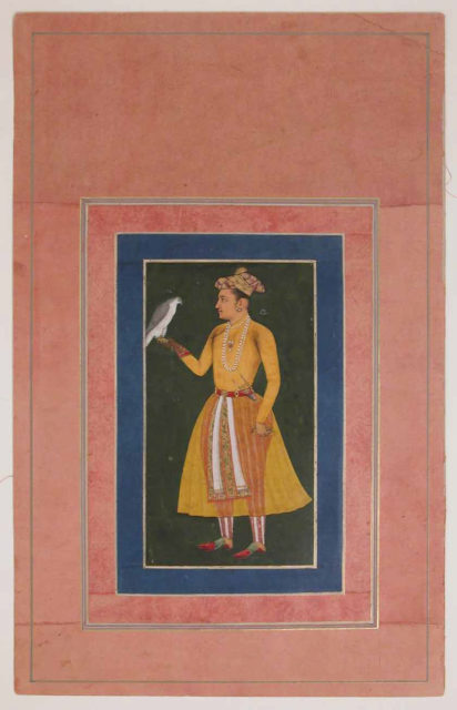 """""""Portrait of a Prince in Yellow Costume with a Falcon"""", Folio from the Davis Album"""