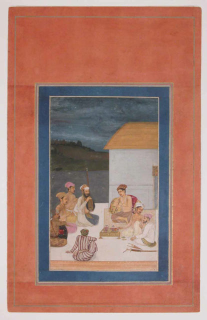 """""""Prince Sultan Parviz, Son of Jahangir, with his Courtiers and Musicians"""", Folio from the Davis Album"""