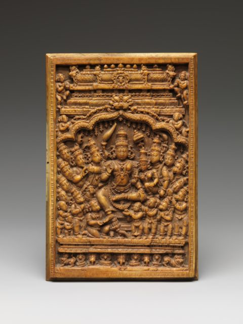Rama, Sita, and Lakshmana being Honored by Sages, Hanuman, and his Army