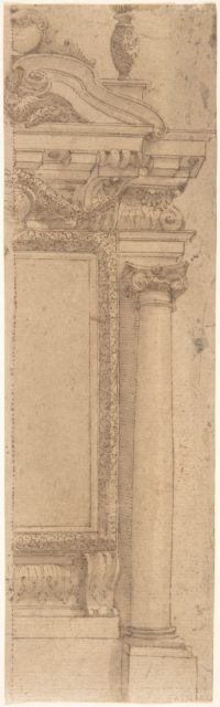 Right Half of Wall Monument Design with Urn Above