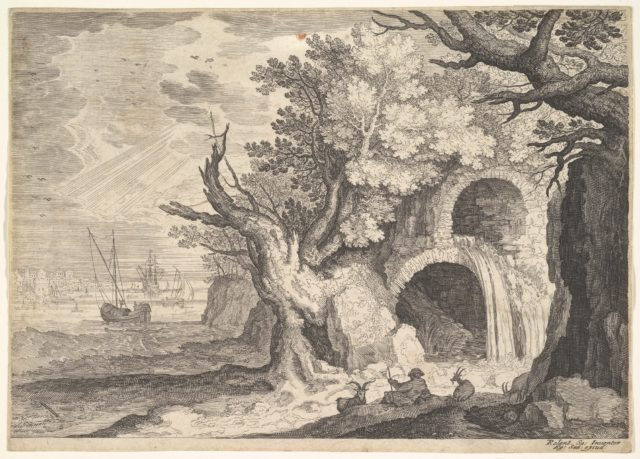 Ruined aqueduct with water spilling from it to a stream below, ships at sea beyond, a man reclining on the ground with three goats in the foreground, from the series 'Six landscapes in Tyrol' after Roelandt Savery