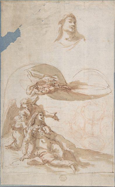 Saint in Ecstasy; Study of Saint's Head (recto); Sketches of Putti (verso)
