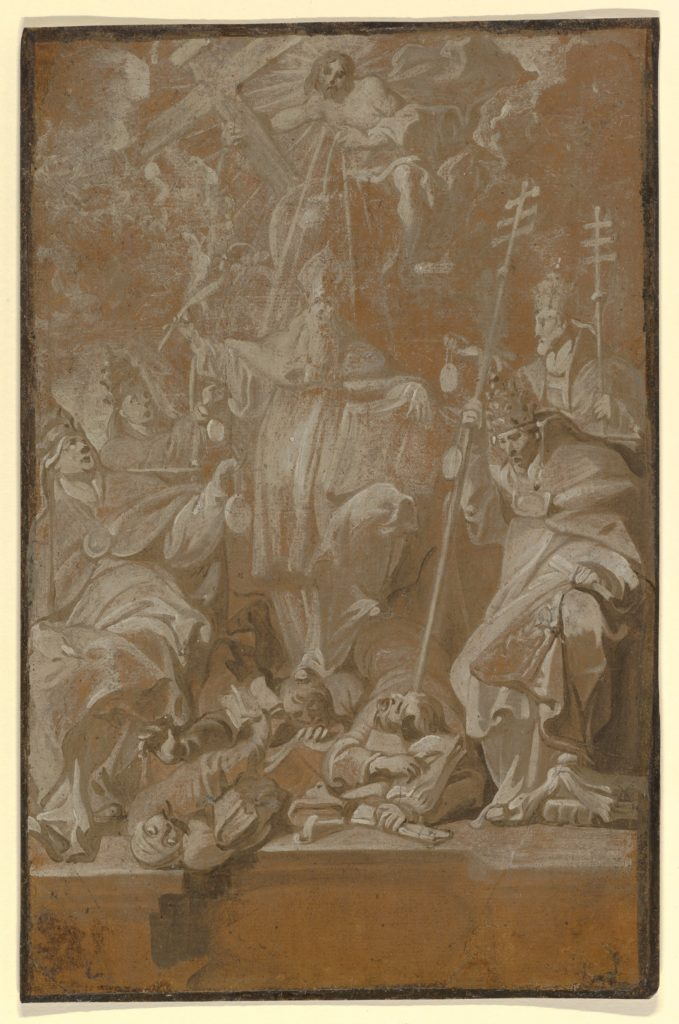 Saint Lambert Trampling his Murderers, Surrounded by the Four Church Fathers