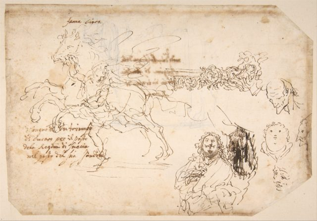 Sheet of Sketches: Sculpture for a Banquet Honoring Queen Christian of Sweden.