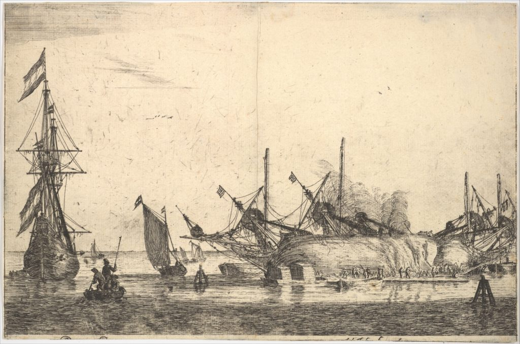 Ships Careened for Caulking the Hull