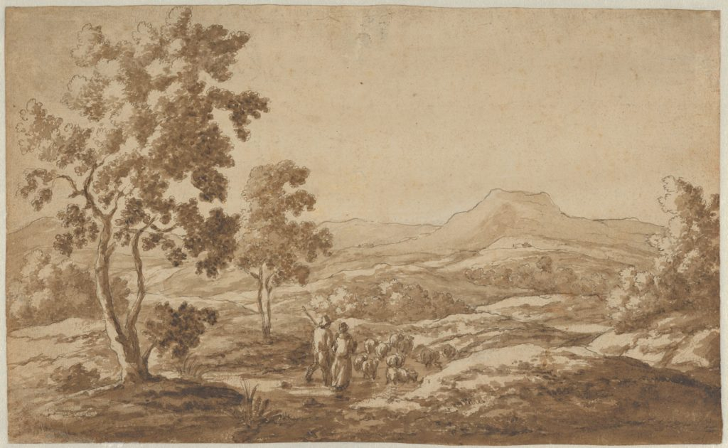 Southern Landscape with Shepherds and Sheep; verso: Study of a Sheep's Head (?)