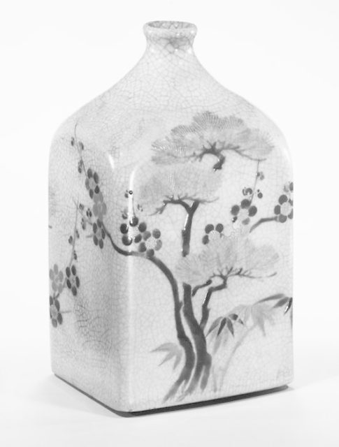 Square Sake Bottle with Design of Three Worthies (Pine, Plum, and Bamboo)