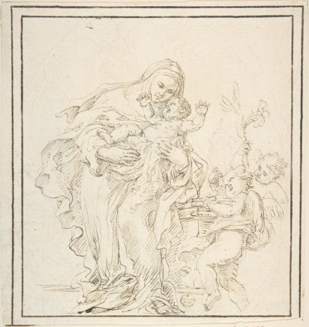 St. Catherine of Siena with The Infant Jesus (recto); Warrior with Dead Lion? (verso)