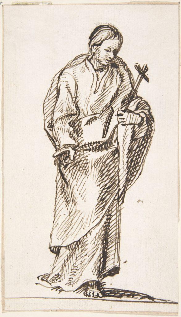 Standing Figure Holding Cross