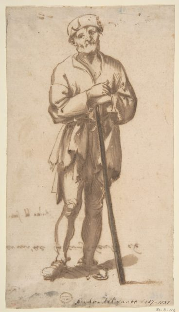 Standing Old Man in Frontal View Leaning On a Staff
