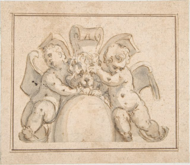Strapwork Cartouche with Putti and a Lion's Mask