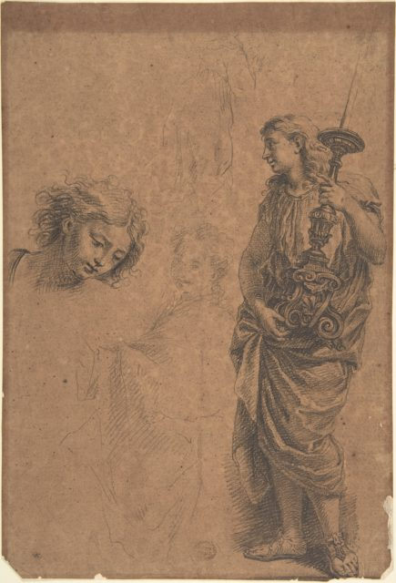 Studies: Figure Holding a Candlestand, Woman with Left Arm Extended, Head Looking Down towards the Right, Kneeling Woman