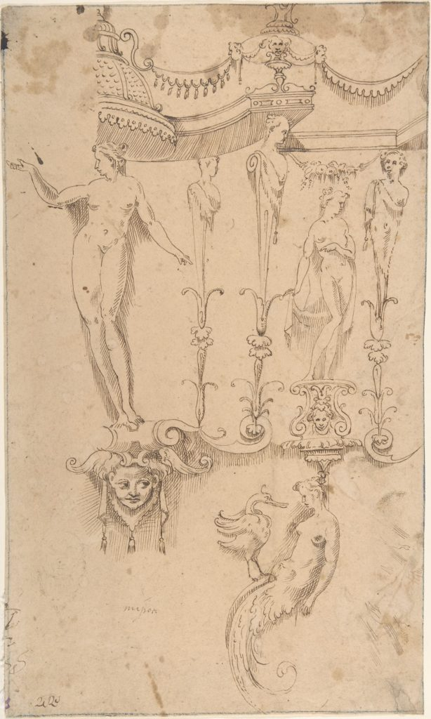 Studies for Grotesque Decorations (Recto); Small Sketches and Writing (Verso)