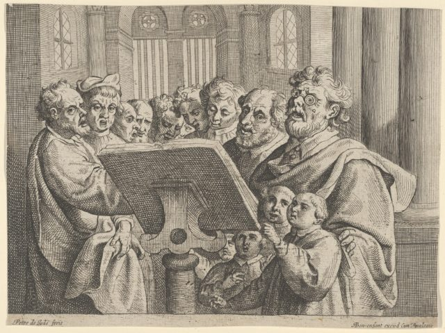 Ten Men and Four Boys Singing in a Church